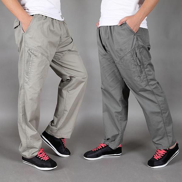 Большой размер S-4XL Мужские повседневные мешковатые брюки Толстый парень Хлопок прямой эластичный талии брюки