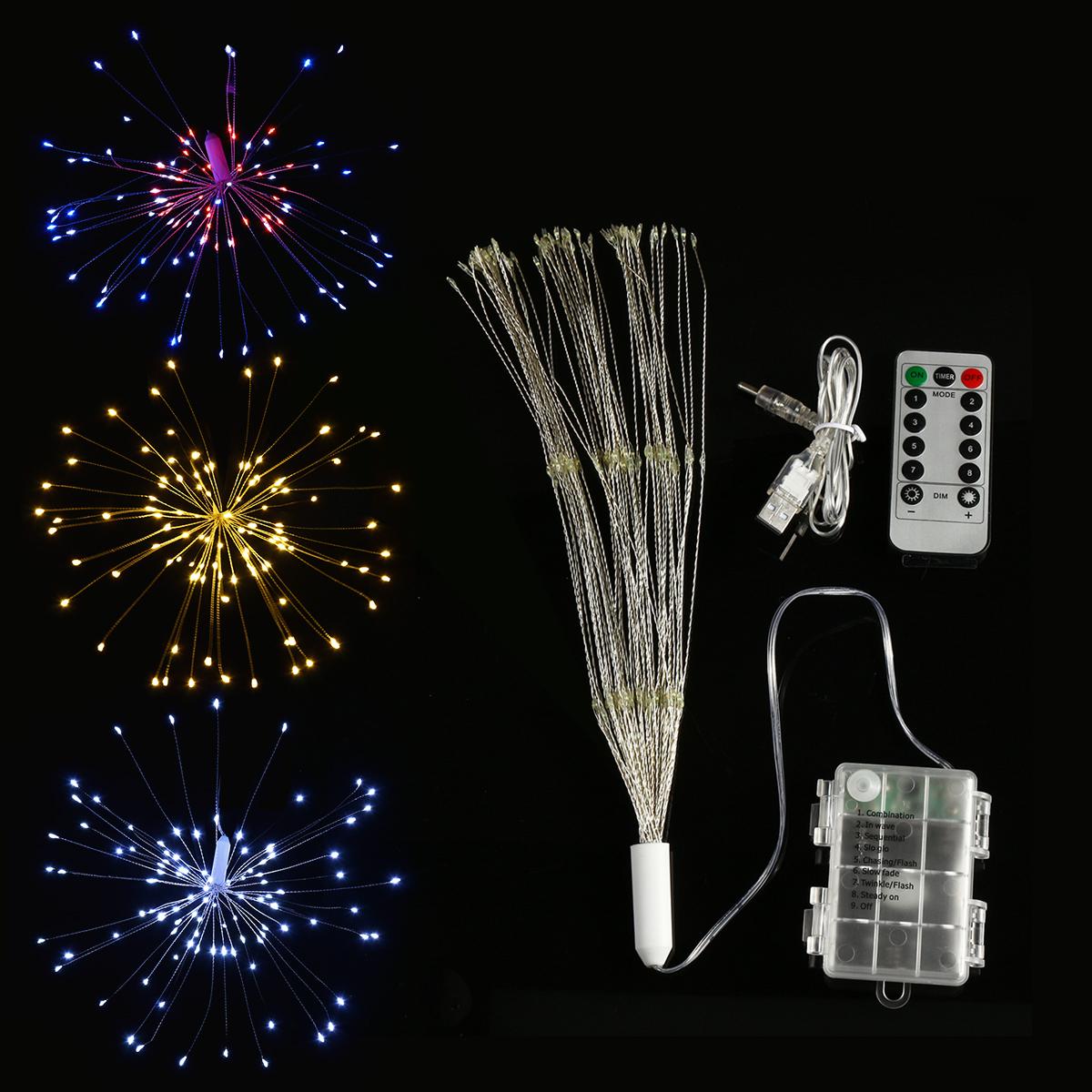 Батарея 150 LED Звездный взрыв String Fairy Light Sliver Провод Свадебное Партия Home Decor