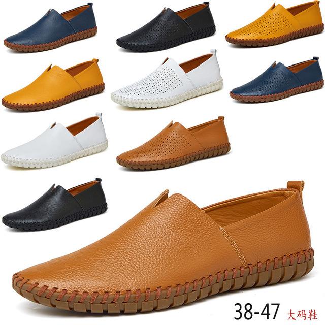 Большой размер One футов мужская обувь мужская обувь горох обувь водителя сезон первый слой кожа полые мужские кожаные ботинки 38-50