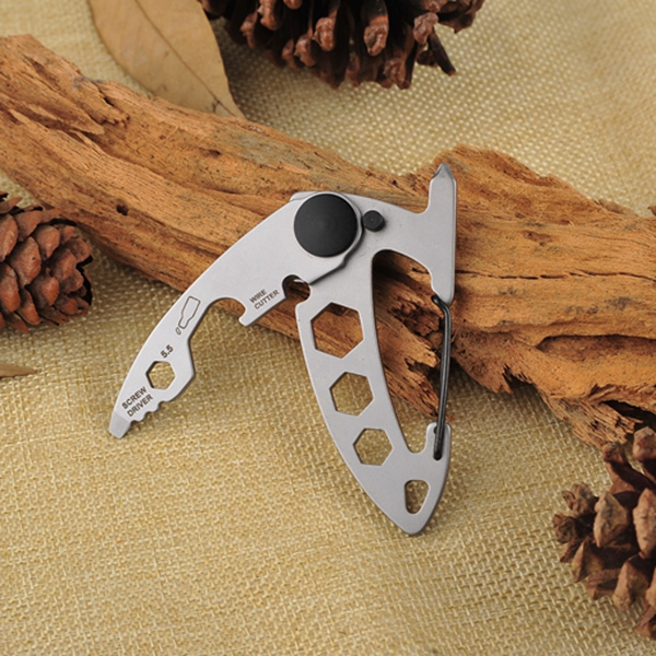 Многофункциональная нержавеющая сталь Кемпинг Пряжка Портативный Key Ring Альпинизм Survival Gadgets