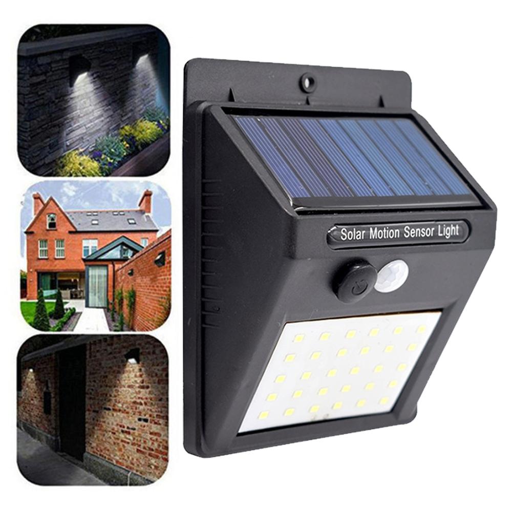 Шт Солнечная Powered 30 LED PIR Motion Датчик Водонепроницаемы Настенный светильник для На открытом воздухе Сад Двор 3 режима