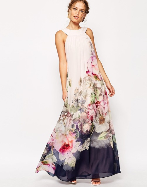 Европейский и американский слинг цветочный женский длинный цифровой принт вечер Платье Платье