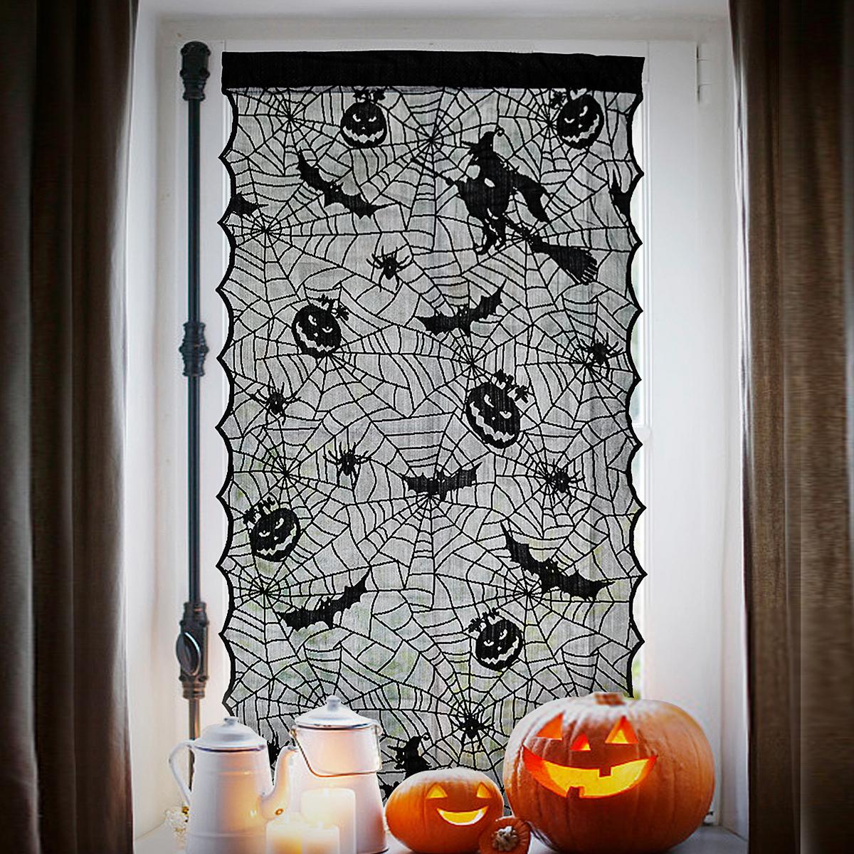 Хэллоуинкружеваоконныезанавескиведьмытыквы летучих мышей ткань привидения дом декор