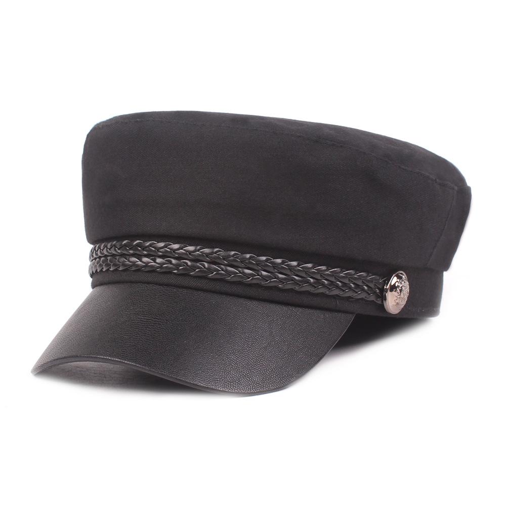 Женская кожаная куртка Navy Cap Flat Cap Ретро Военный Кепка