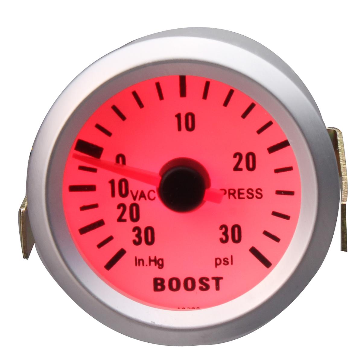 Дюймовый 52-мм универсальный Авто Красный LED Датчик давления турбонаддува измеритель 30 psi с Шланг