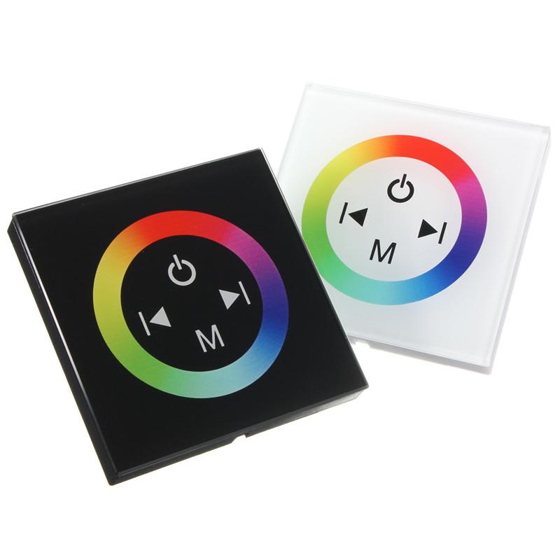 Черный / белый стекло контроллер сенсорной панели диммер настенный выключатель кольцо полноцветный контроллер