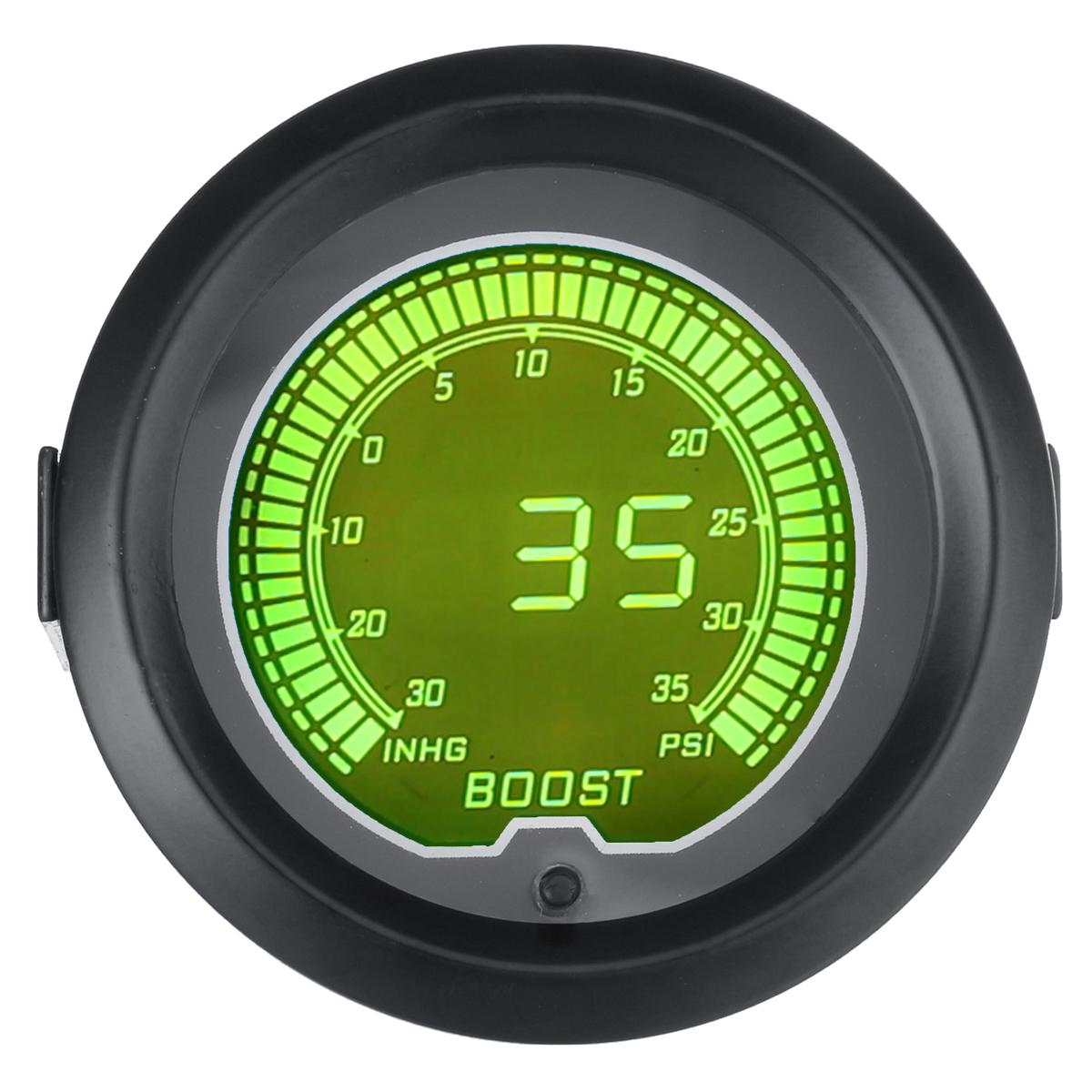 Цвет 2 дюйма 52 мм Цифровой LED Turbo Boost Вакуумметр 35 фунтов на квадратный дюйм