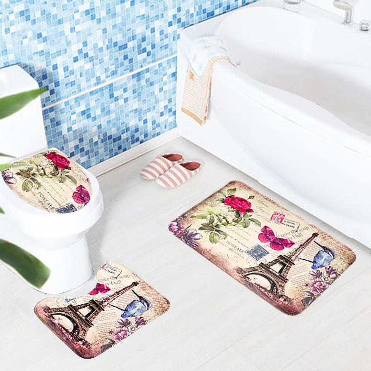 Комплекта сиденье для унитаза Европейский стиль туалет ковер ткань постамент железная башня печати коврик для ванной