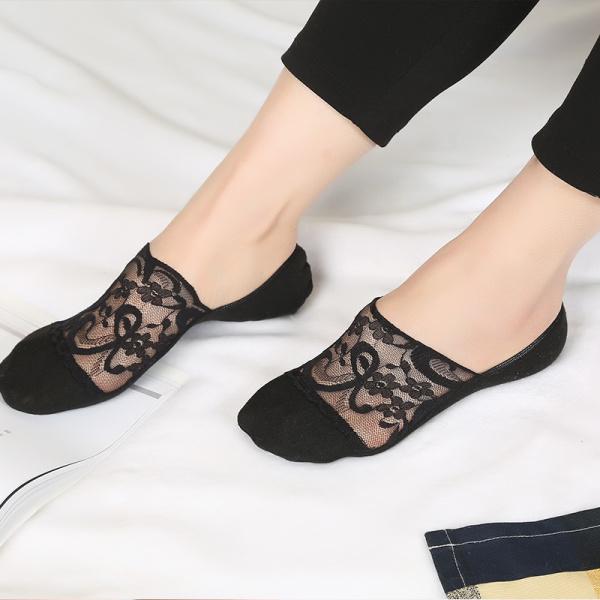 Модные женские кружевные противоскользящие невидимые носки для лодок Летние дышащие тонкие чулочно-носочные изделия