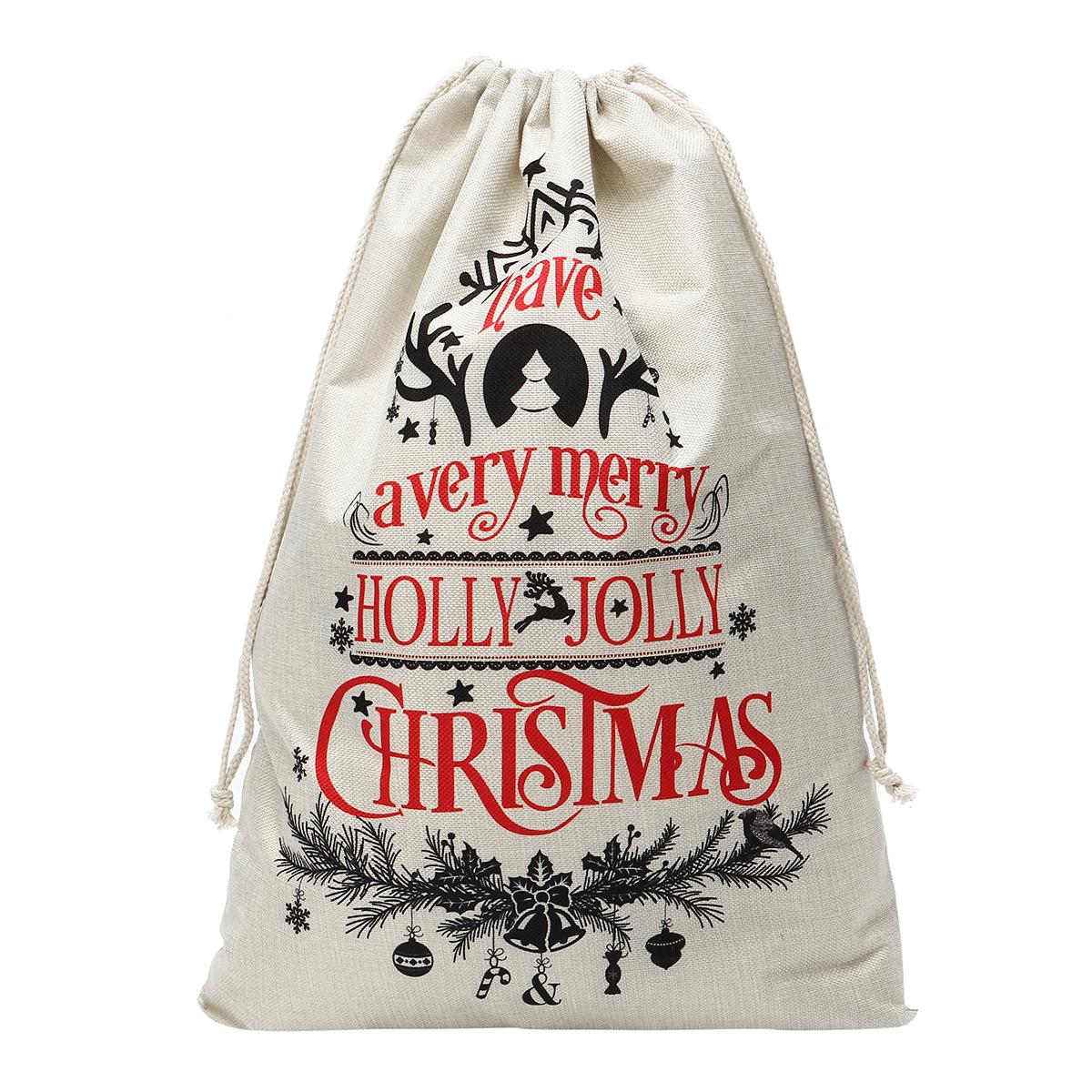 БольшойрождественскийгессенскийпакетизСанта-Клауса Stocking Сумка Подарки оленей Сумка Кухонный контейнер для хранения