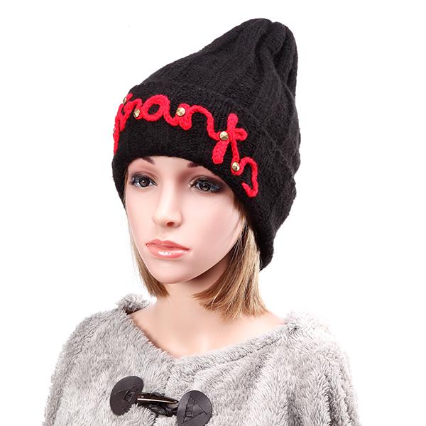 Женщины дамы сгущать шлема вязания крючком плетеную заклепки зимы теплый лыжный колпачок шапочка