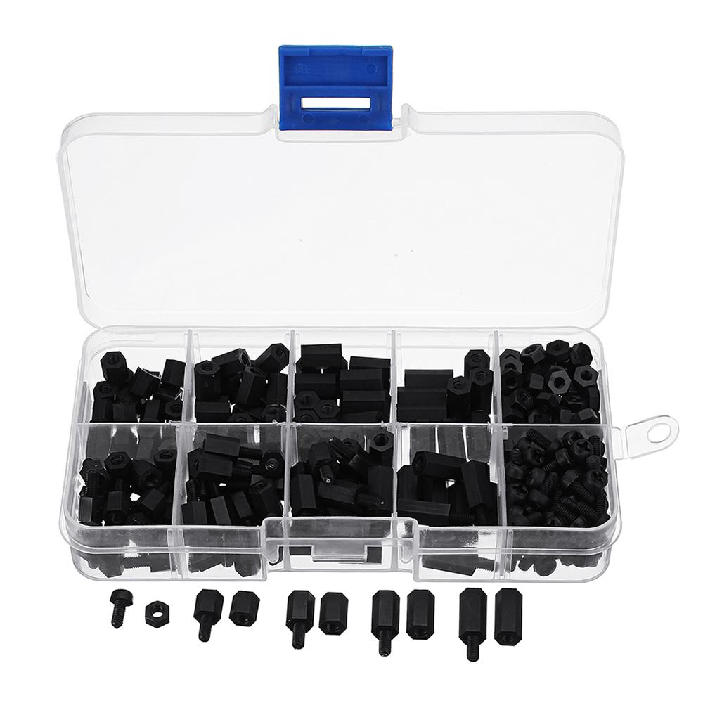™ 300шт M3 нейлон черный Hex гайки Распорки Стенд-офф разной длины Ассортимент Комплект коробки