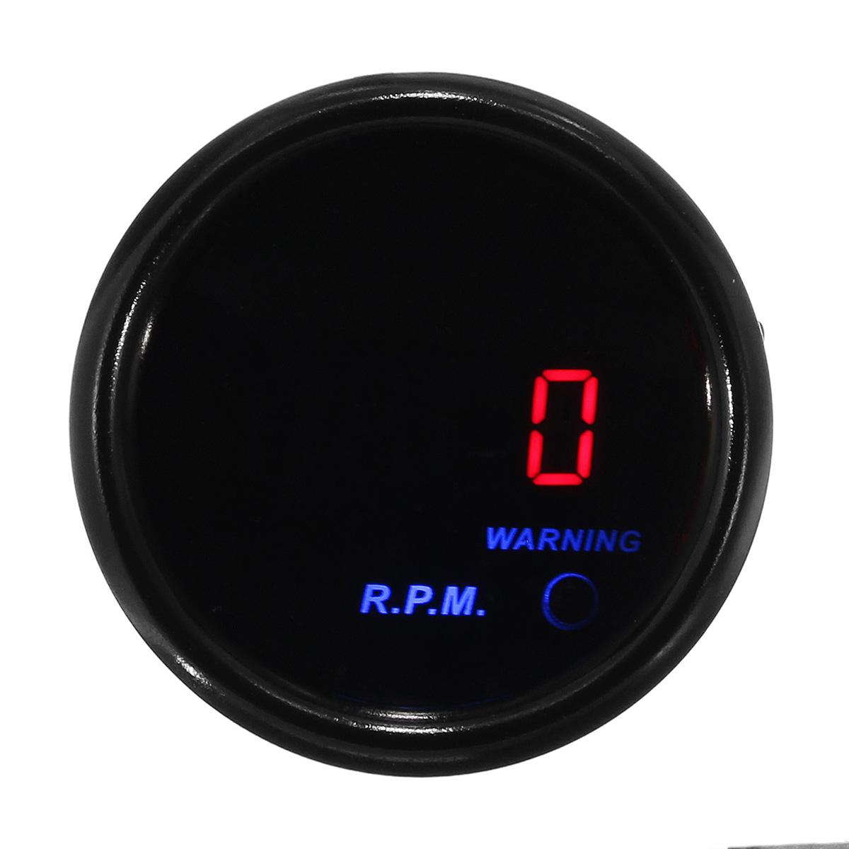 Дюйма 52 мм 0-9000 об / мин тахометр тахометр цифровой LED Дисплей черный измеритель лица