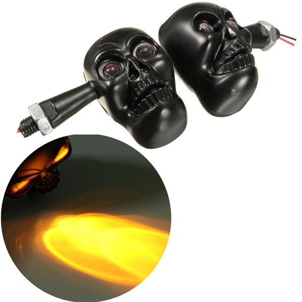 Индикатор сигнала поворота мотоцикла череп желтый свет черный