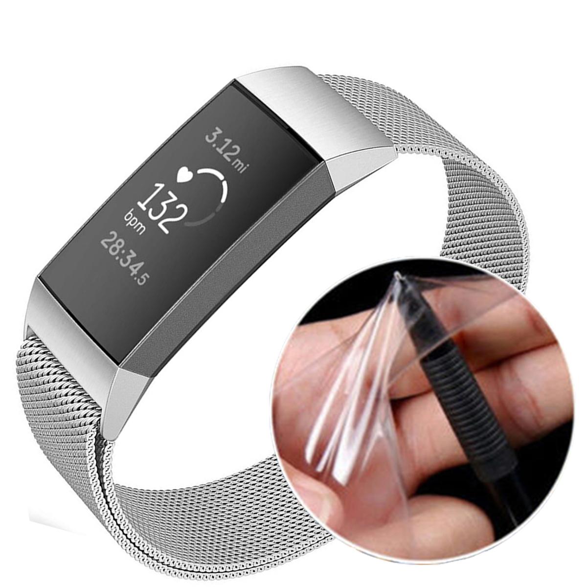 Закаленное стекло Full Edge Cover TPU Часы Защитная пленка для Fitbit Charge 3 Smart Watch
