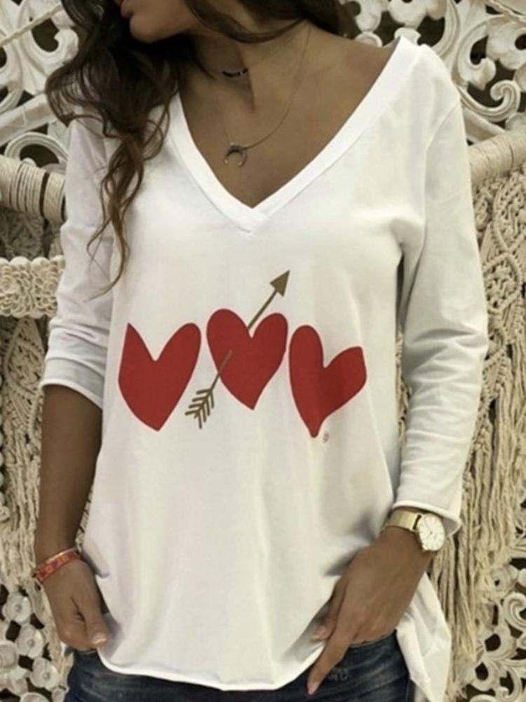 Женское Повседневный Сердце Футболка с длинным рукавом с V-образным вырезом с принтом