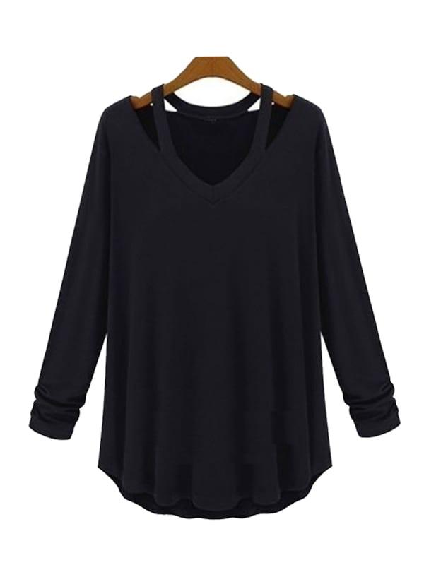 Женские однотонные футболки с открытыми плечами