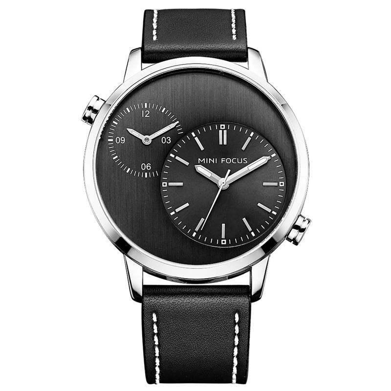 FOCUSMF0035GДвечасовыепояса Дисплей Мужские часы Натуральная Кожа Ремни Кварцевые часы