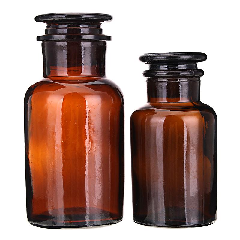 Янтарнаястекляннаябутылкасширокимгорлом для хранения химических реагентов