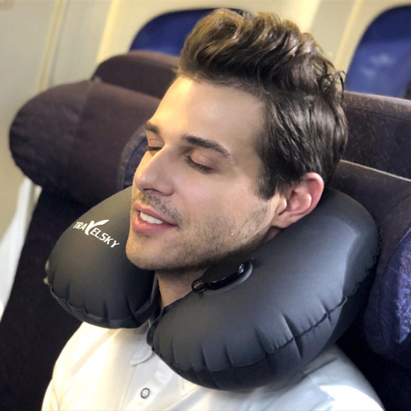 Надувной U-образный Шея Подушка Travel Авто Подушка подголовника Офисный Самолет Вождения Сон Поддержка