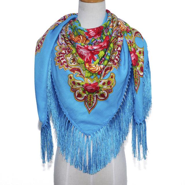Женский шарф с цветочным принтом в стиле ретро