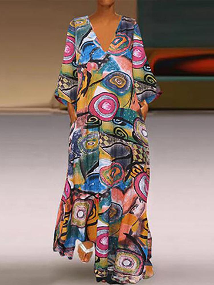 Женский ретро V-образный вырез с цветочным принтом длинный макси Платье