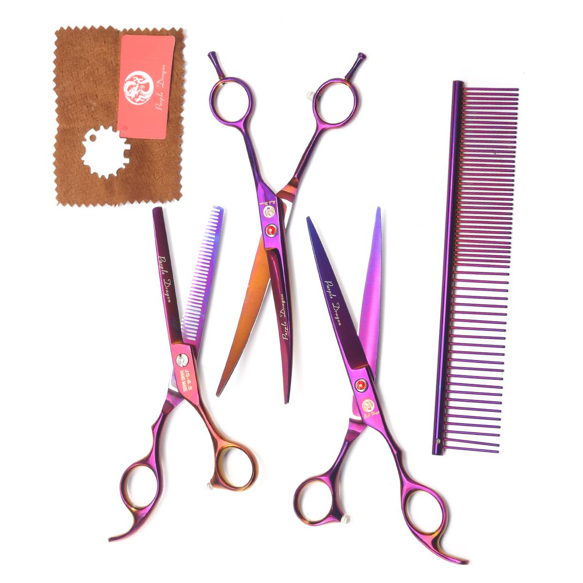 Набор ножниц для груминга домашних животных с двойной изогнутой прямой бритвой