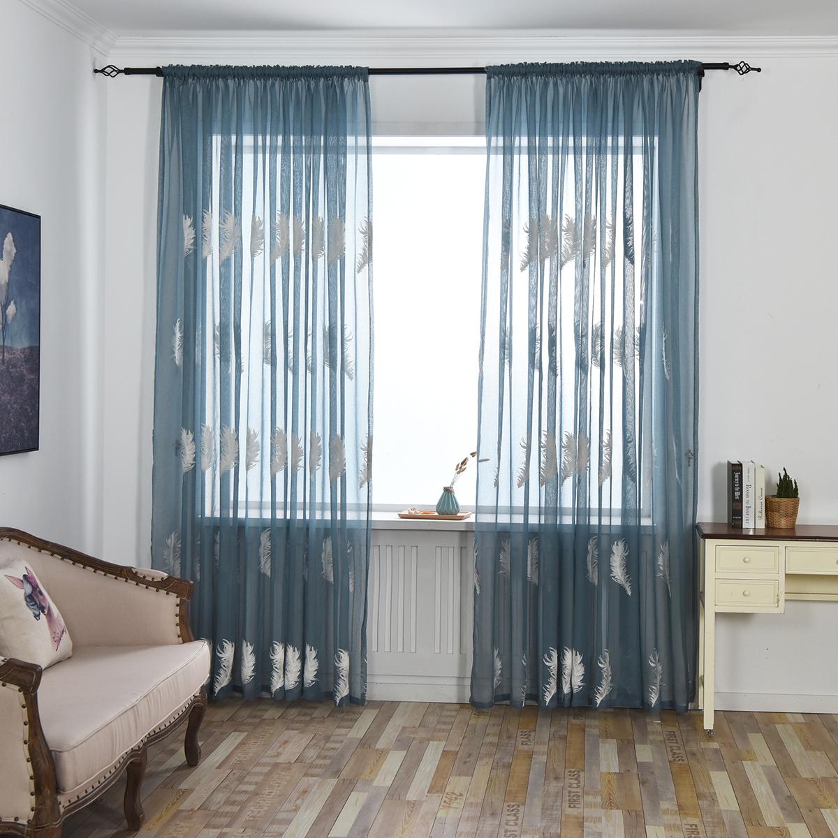 Вышитые Гардинные Шторы для Гостиной Перо Современная Дизайн Спальня Элегантные Шторы Пряжа Voile