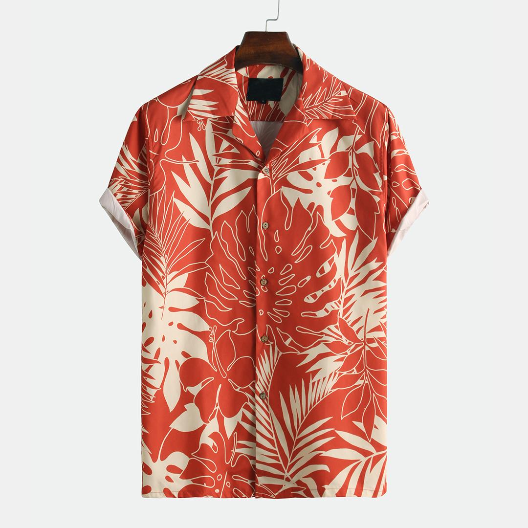 Мужские Лист печатные летние дышащие быстросохнущие рубашки