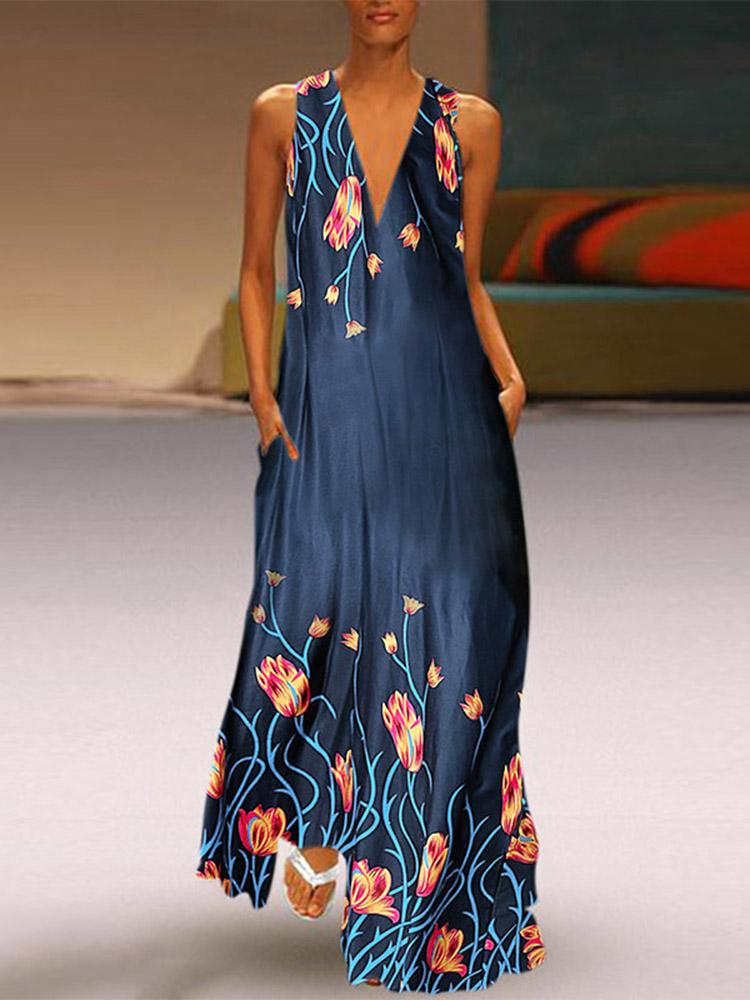 Женский повседневный цветочный принт с v-образным вырезом без рукавов Maxi Платье