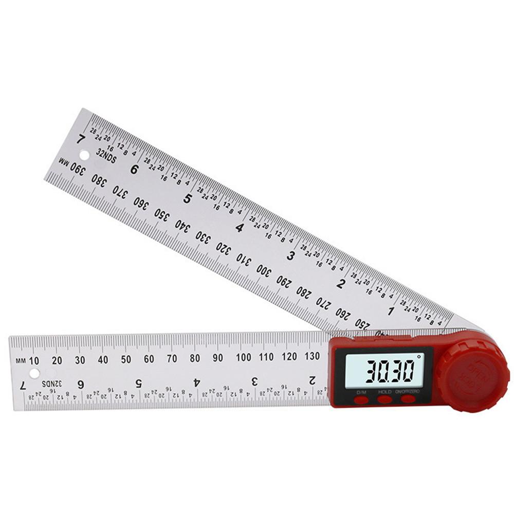 В 1 200/300 мм Прозрачная цифровая угловая линейка 360 ° LCD Дисплей Инклинометр Электронный гониометр Угломер Метр искателя угла дюймов Из