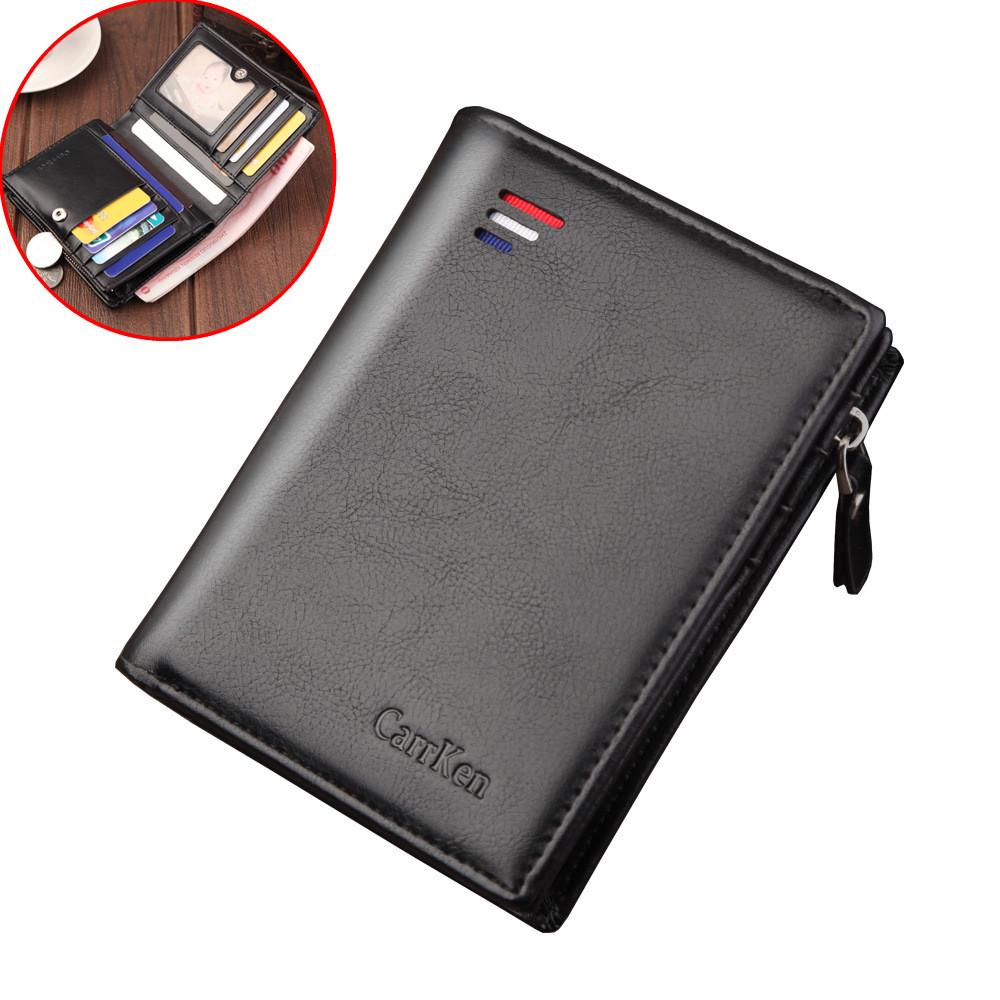 ® мужской кожаный бумажник из искусственной кожи На открытом воздухе Travel Retro Zipper Держатель для кредитных карт с выдвижным карманом Коше
