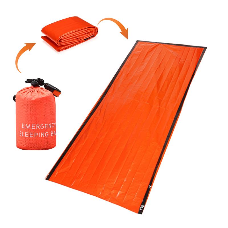 Открытый PE Многоразовый Аварийный Спящий Сумка Тепловой Водонепроницаемы Кемпинг Одеяло для выживания