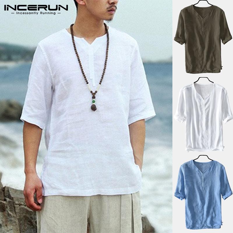 Мужские летние льняные футболки с v-образным вырезом с коротким рукавом и дышащим верхом Soft Рубашка