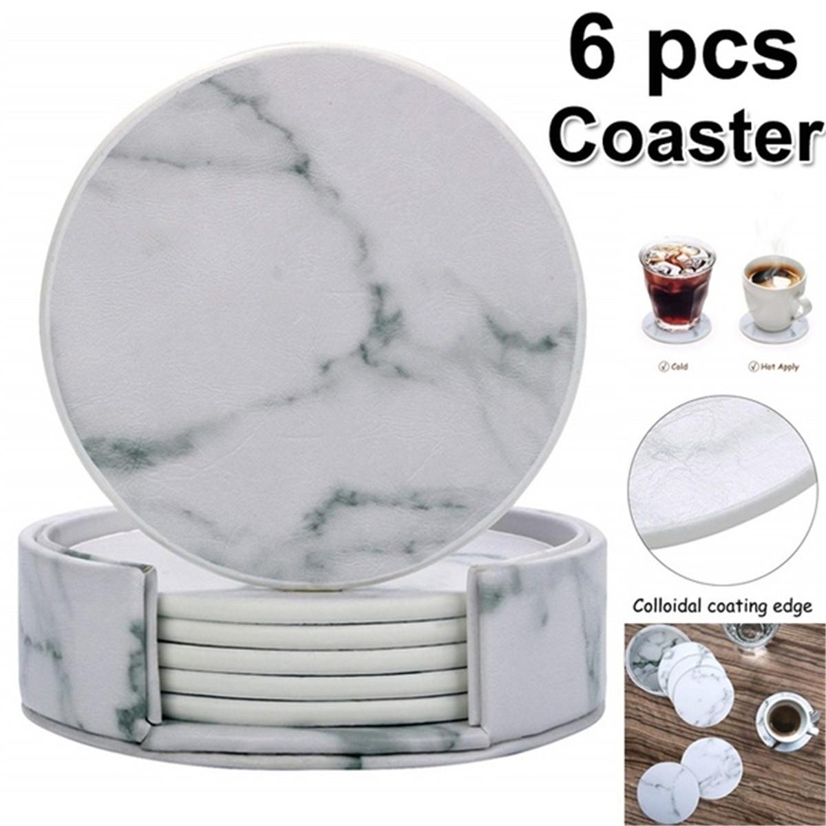 Шт мраморная чашка каботажное судно круглый кожаный теплоизоляционный коврик для кухонного стола дома