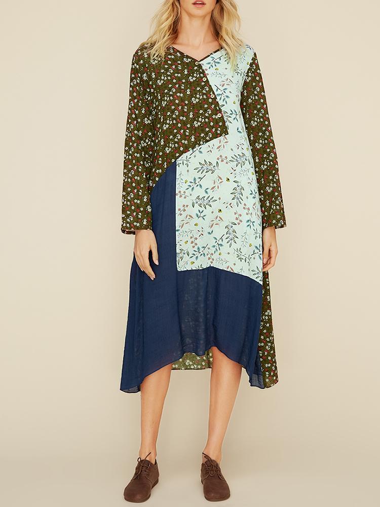 Женский Цветочный принт Лоскутное с длинным рукавом Повседневная Платье