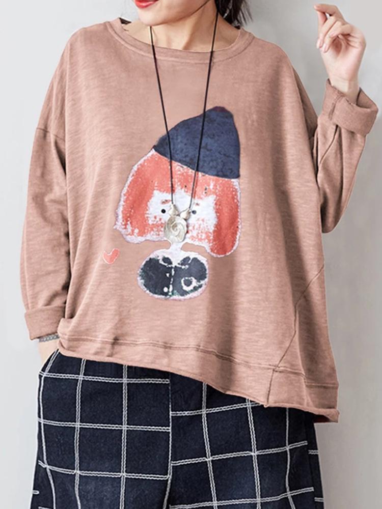 Женская повседневная мультяшная футболка с длинным рукавом Шея
