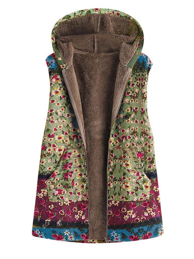 Жилет женский теплый зимний флис с цветочным принтом