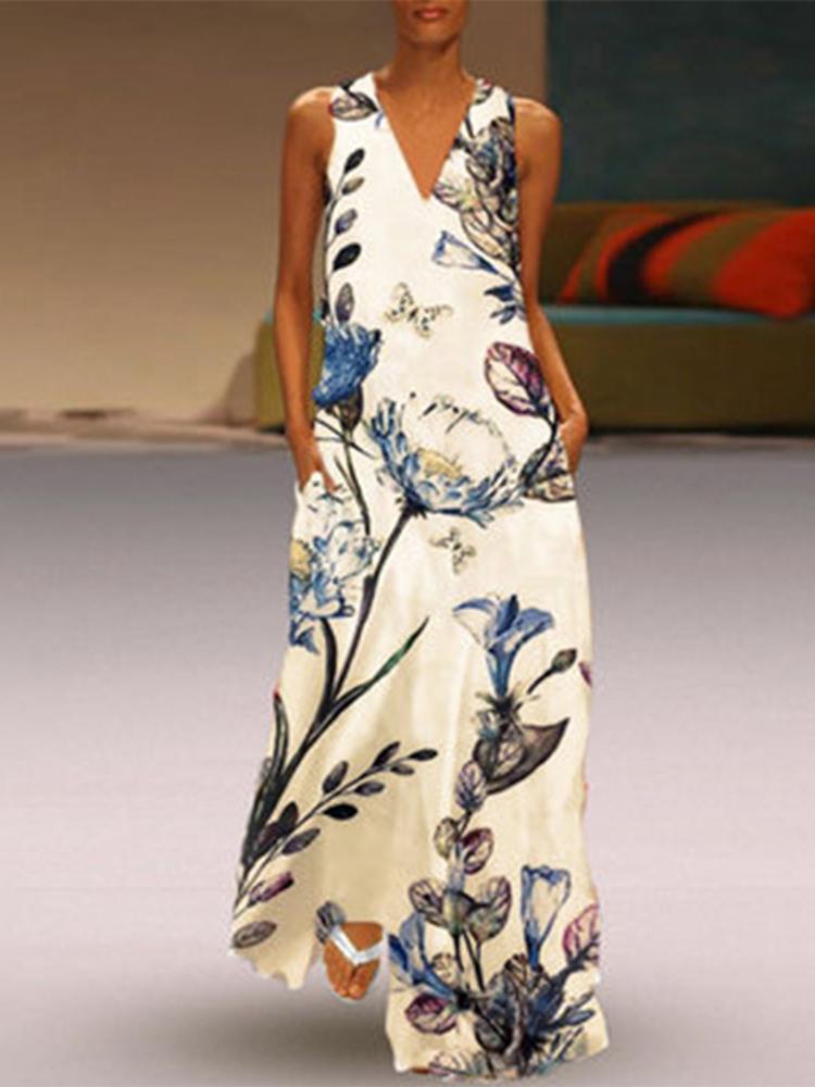 Женский повседневный цветочный принт с V-образным вырезом без рукавов Платье