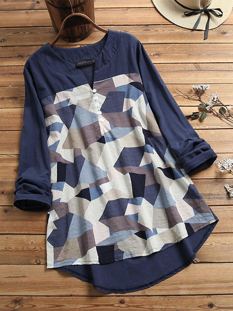 Женская футболка с длинным рукавом и V-образным вырезом с геометрическим принтом на пуговицах