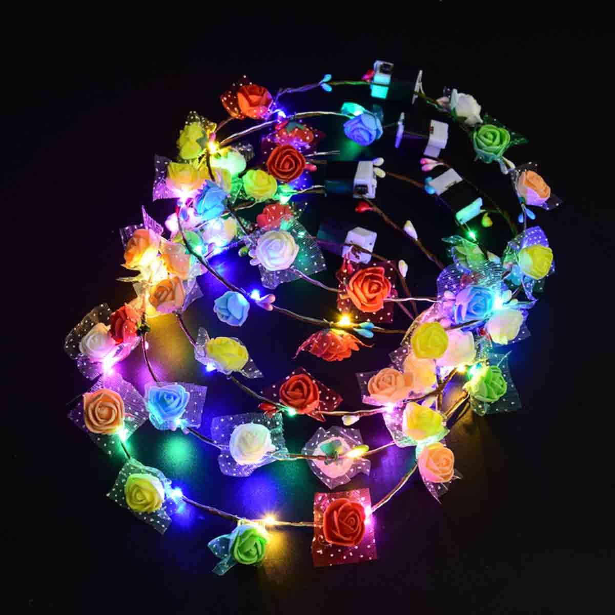 ШТ. 3 Режима LED Цветочный Венок Оголовье Гирлянда Colorful Свет Свадебное Праздничная Вечеринка