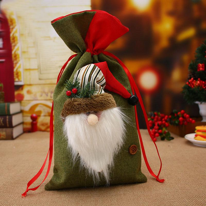 Рождественский пакет для хранения хлопкового белья Сумка Drawstring Сумка Travel Женское Маленькая ткань Сумка Рождественский подарочный чех
