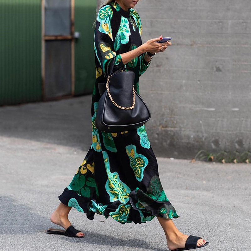 Женский Цветочный Принт Этническая Лето Длинный Макси Рубашка Платье