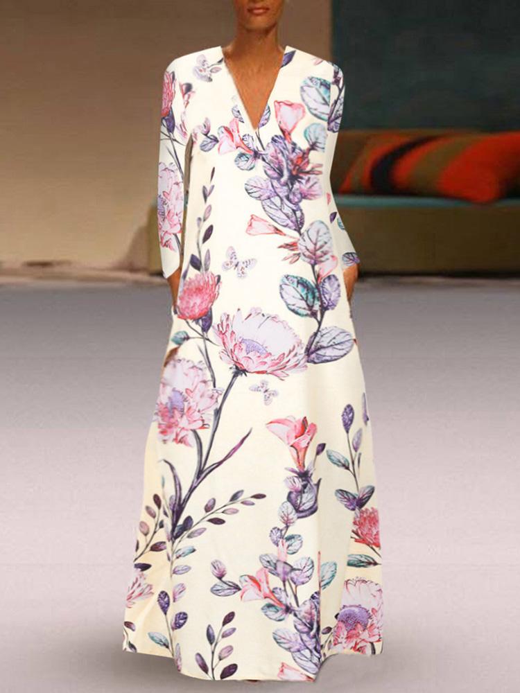 Женский повседневный цветочный принт с V-образным вырезом с длинным рукавом Платье