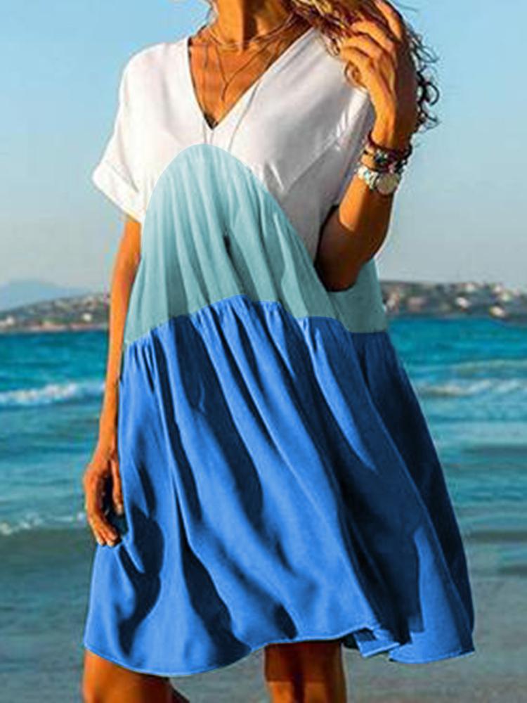 Женский градиент с цветочным принтом V-образным вырезом с коротким рукавом Mini Платье