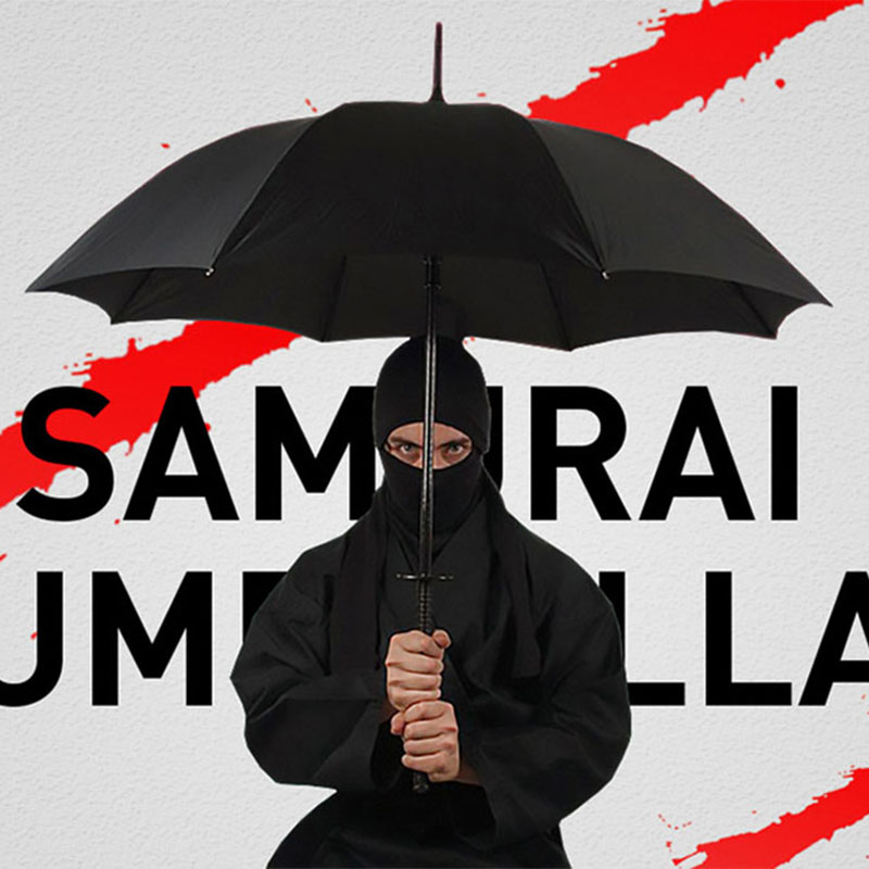 ТворческийДлиннаяРучкаБольшойВетрозащитный Зонт Самурая Японский Ниндзя, как Солнечный Дождь Прямой Зонт Ручной Открыть