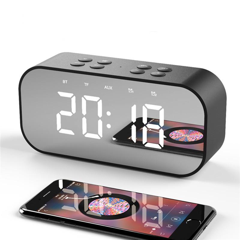 Беспроводная Bluetooth 5.0 Динамик Двойная сигнализация Часы FM Радио HiFi Музыкальная колонка Сабвуфер Громкая связь Зеркальный экран выз