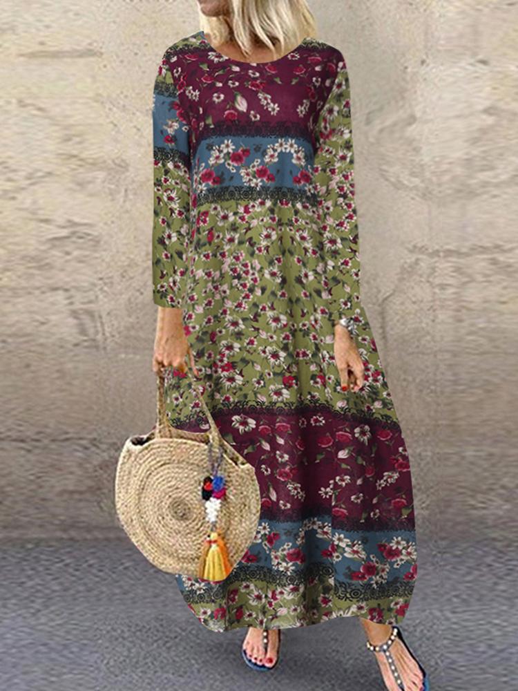 Женский хлопок с цветочным принтом с коротким рукавом с длинным рукавом Платье