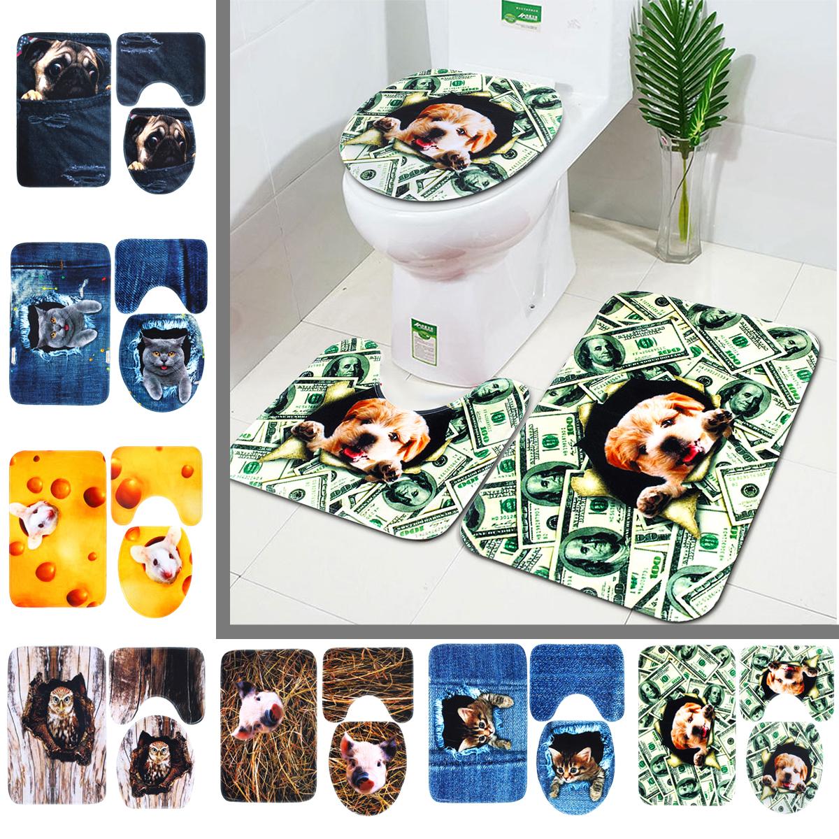Нескользящий Ванная комната моющийся ковер животных Ванная комната коврик для унитаза