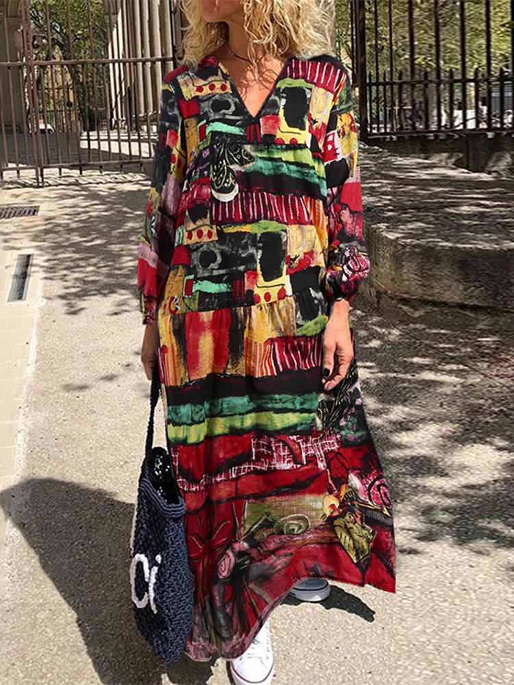 Женский принт с v-образным вырезом с длинным рукавом с цветочным принтом Maxi Платье